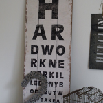 Holzschild Sehtest Wohnklunk
